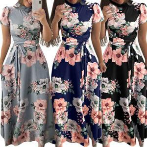 1fbf34998cbb6 Details about Women Floral Maxi Dress Boho Evening Party Summer Beach  Casual Long Sundress UK