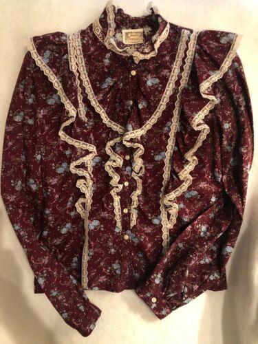 Vintage Gunnies Sax button up lace blouse