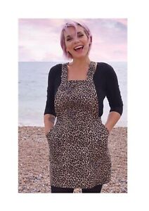 Run And Fly Leopard Stretch Twill Pinafore Dungaree Dress 8-18 *BRAND NEW*