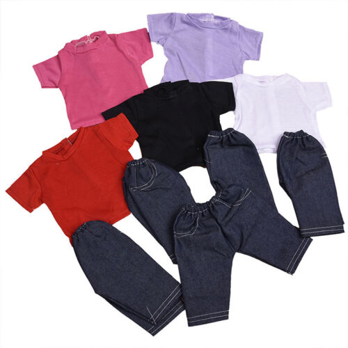 LOVELY PLAIN HAND-MADE T-SHIRT /&  DENIM JEANS SUITABLE FOR A 18 INCH DOLL.