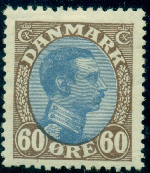 DENMARK #123 (156a) 60aur brown/blue, Chr. X, og, LH, VF, Scott $52.50