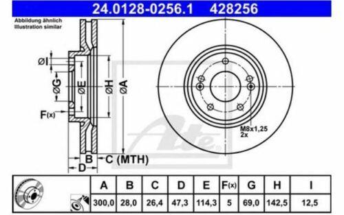 2x ATE Disques de Frein Avant Ventilé 300mm pour KIA SPORTAGE 24.0128-0256.1
