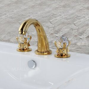 Gold bathroom basin taps 3 pcs basin mixer tap dual for Gold bathroom sink taps