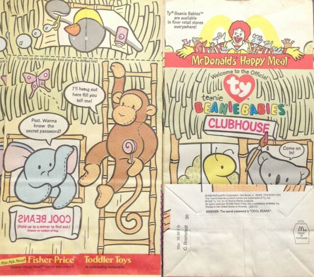 403f2b14eca McDonald S Happy Meal Ty Teenie Beanie Babies Clubhouse Paper Bag Cool Beans