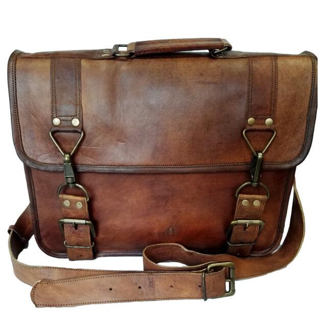 b98eaab51 Brown Genuine Shoulder Briefcase Laptop Men's Bag Vintage Goat Leather  Messenger