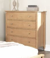 Edward Hopper Oak Chest Of Drawers. Solid 4 Drawer Chest,metal Runners.assembled