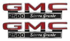 1971-1972 GMC Pick Up Truck Front Fender Emblem 2500 Sierra Grande Pair