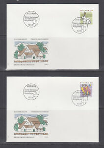 Switzerland-Mi-1436-1460-1991-issues-8-sets-in-singles-on-17-cacheted-FDCs