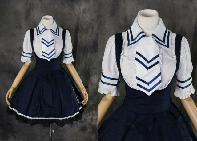 M-3140 Gr. L blau blue Sailor Lolita Bluse Kleid Set Cosplay Kostüm costume