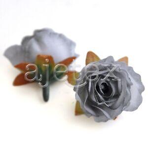 50pcs Artificial Silk Tea Rose Flower Heads Wedding Party Decor 30mm Gray FB