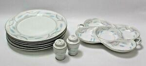 Set-of-6-Valmont-China-Royal-Wheat-Dinner-Plates-Platter-amp-Salt-Pepper-Shakers