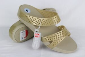 6002e06c225b0e New Fitflop Women s Well Jelly Z Slide Sandals Size 9 Gold   E39-010 ...