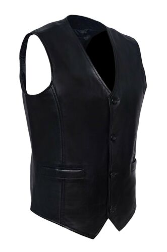 New Vest Vera pelle Gilet Fashion Luxury Blacklist Black Casual Party Larp rPzRw