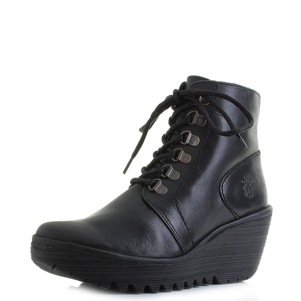 Chaussures Femme FLY FLY FLY LONDON fil noir tapis en cuir compensées à talon cheville Bottes Sz Taille   Qualité Fiable  537299