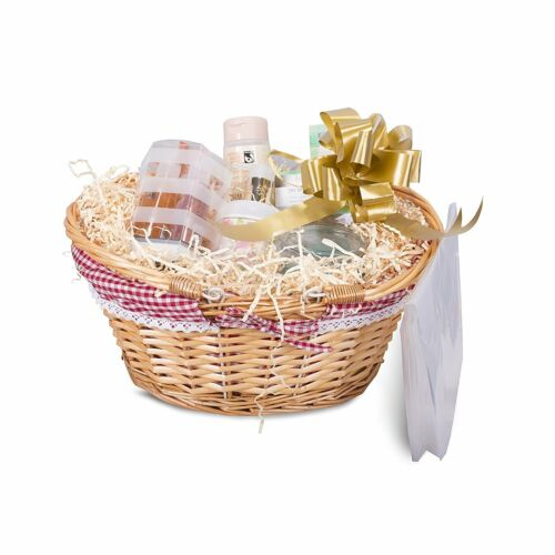 Honey Color Foldable Handle Wicker Shopping Baskets Christmas Gift Hamper Displa