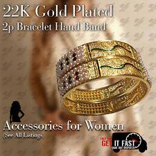22K GOLD PLATED 2PC BRACELET BANGLE INDIAN WOMEN ETHNIC TRADITIONAL JEWELLER 2*8