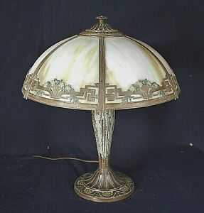 ANTIQUE-VICTORIAN-ART-NOUVEAU-6-PANEL-STAINED-SLAG-GLASS-LAMP-BY-034-A-amp-R-CO-034