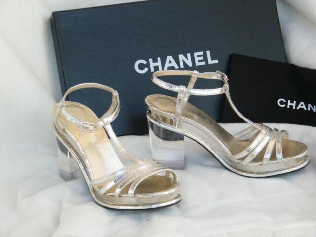 CHANEL SHOES SANDALS heels lucite heel