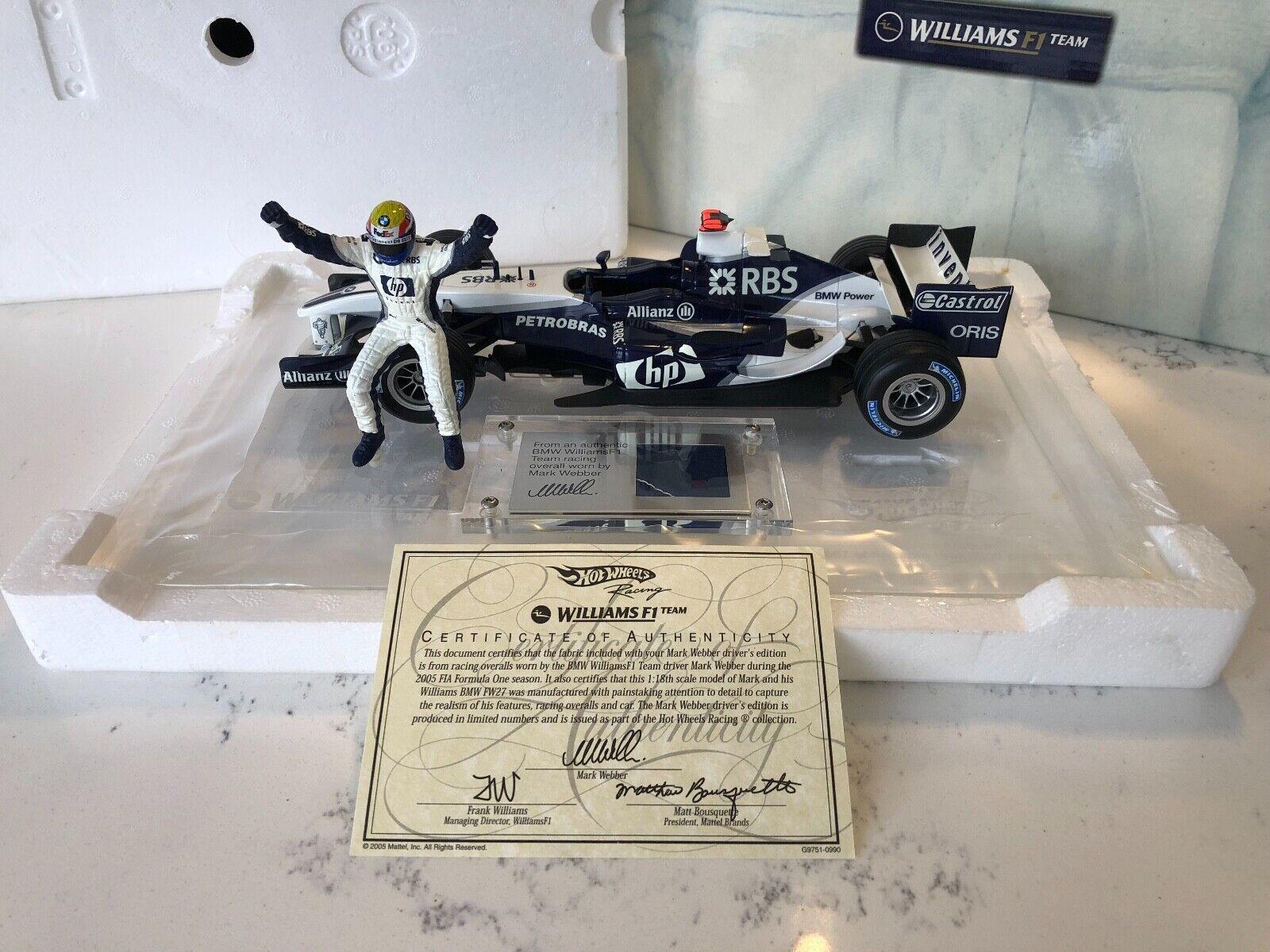 1 18 HotWheels Mark Webber BMW WILLIAMS FW27 2005 édition limitée Racesuit