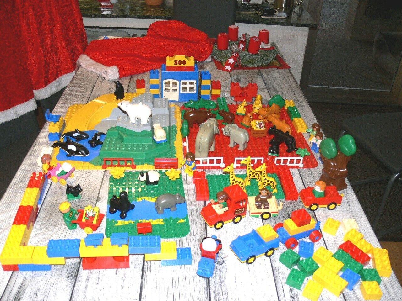 XXXL Lego Duplo Zoo 3D Platte Konvolut Lot 151 Teile viele Tiere Fahrzeuge