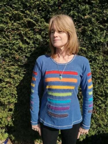 Hippie Boho Acid Wash 8-14 Ladies Long Sleeve Stonewash Panel Stripe Top