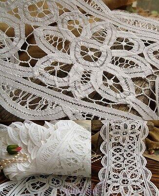 """6.5 Yards ~Vtg HAND Ribbon Lace Trim lot Antique Bridal White Cotton ~6.7"""" WIDE!"""