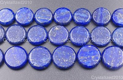 Natural Lapis Lazuli Gemstone Flat Round Coin Loose Beads 16mm 18mm 20mm 16""