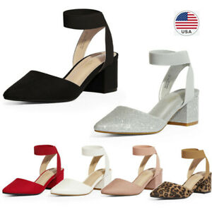 Women-039-s-Elastic-Ankle-Strap-Pointed-Toe-Pump-Shoes-Low-Chunky-Heel-Dress-Pumps