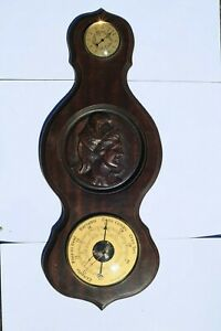 Vintage-French-Barometer-Thermometer-On-Wood-In-Working-Condition-22inch-2-4lbs