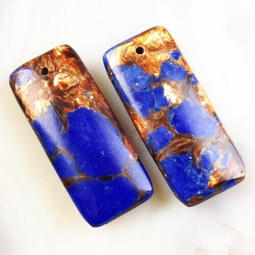 Rainbow Sea Sediment Jasper /& GoldCopperBornitestoneOblong Pendant Bead