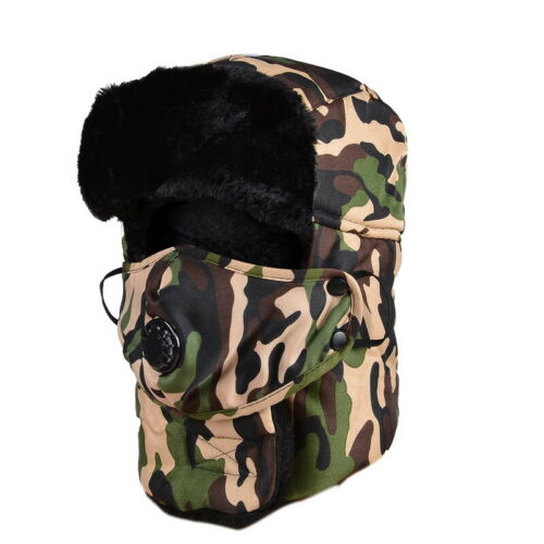 Unisex Winter Warm Trooper Trapper Hat 2in1 Faux Fur Bomber Cap Face Mask Cover