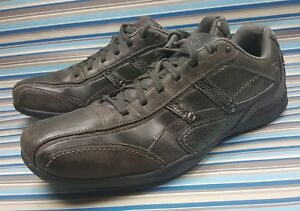 skechers relaxed step gray leather sneakers shoes mens