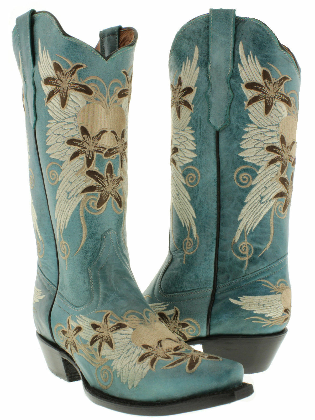 Womens Turquoise Wings Heart Embroidered Western Leather Cowboy Cowgirl Boots