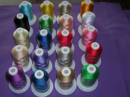SEW TECH 20 BROTHER COLOURS POLYESTER MACHINE EMBROIDERY THREAD 1000M SPOOL D//2