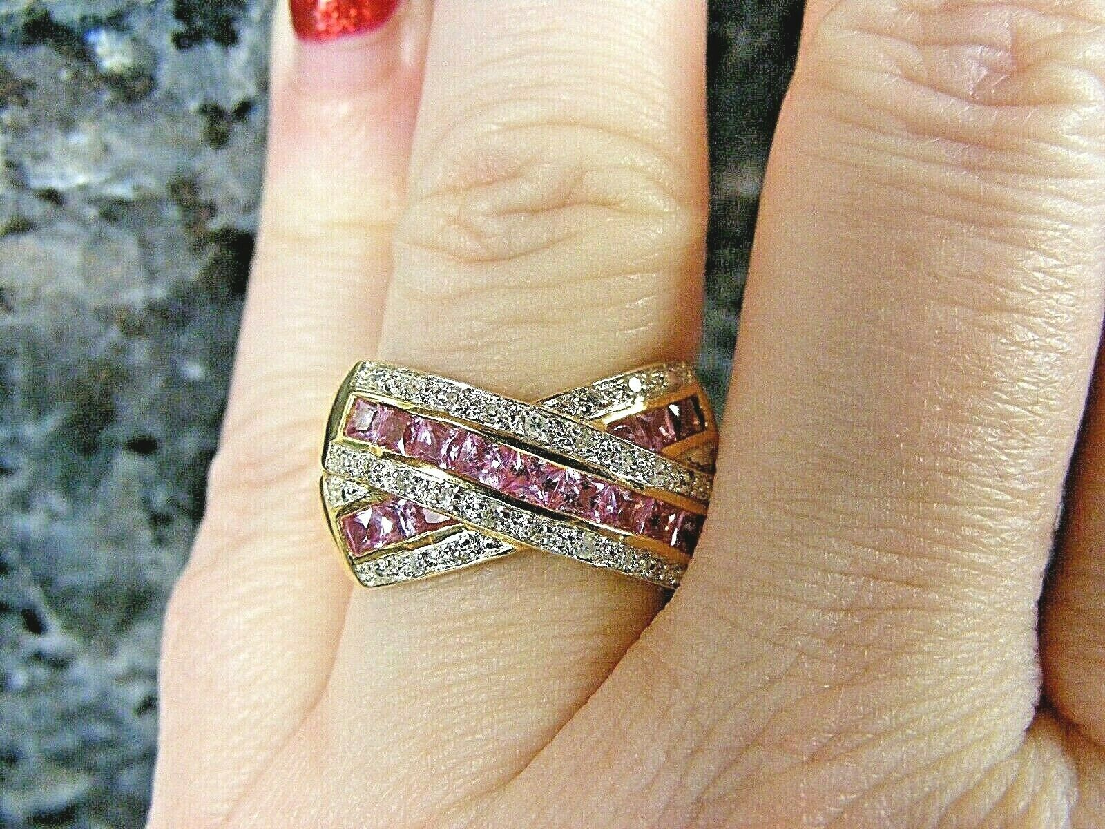 14k Yellow gold Channel Set Princess Cut Pink Sapphire Diamond Credver Ring