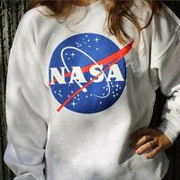 Women Fashion Long Sleeve Round Neck Pullover Sweatshirt NASA Print Baseball Tee