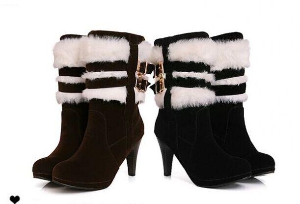 Stivali stivaletti invernali comodi scarpe donna zeppa tacco 9.5 cm pelo 8793