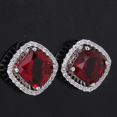 2014 Hot sell 18k white gold filled princess red gemstone garnet stud earring