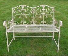 Gardman Heart Backed Metal Folding Garden Bench In Cream ...