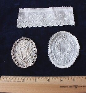 3 Tiny Doll Scale Hand Embroidered Antique (1890) Bows & Floral Samples