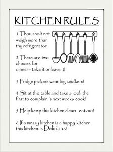 Inspirational Motivational Kitchen Rules Quote A4 Poster Print Wall Art Ebay
