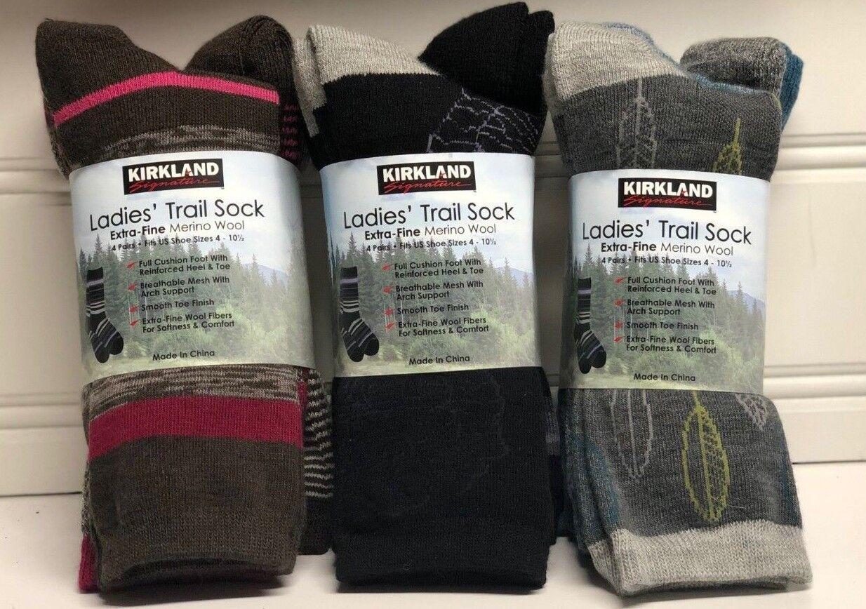 740619455 Kirkland Signature Ladies Trail Socks Extra Fine Merino Wool Women 4 Pairs  Black for sale online