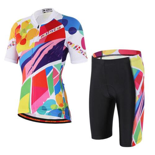Shorts Bike Wear Kit S-5XL Colorful Women/'s Cycling Set Bicycle Jersey and Bib