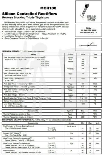 20PCS MCR100-6 0.8A//400V SCR TO-92 DIP transistors