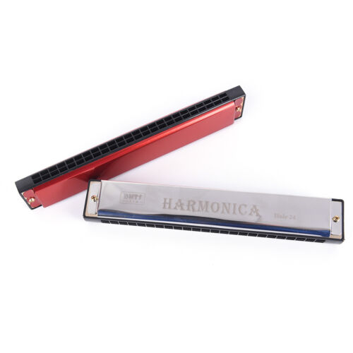 silver//red 24 Holes Tremolo Harmonica Mouth Organ Key of C for Beginne YR