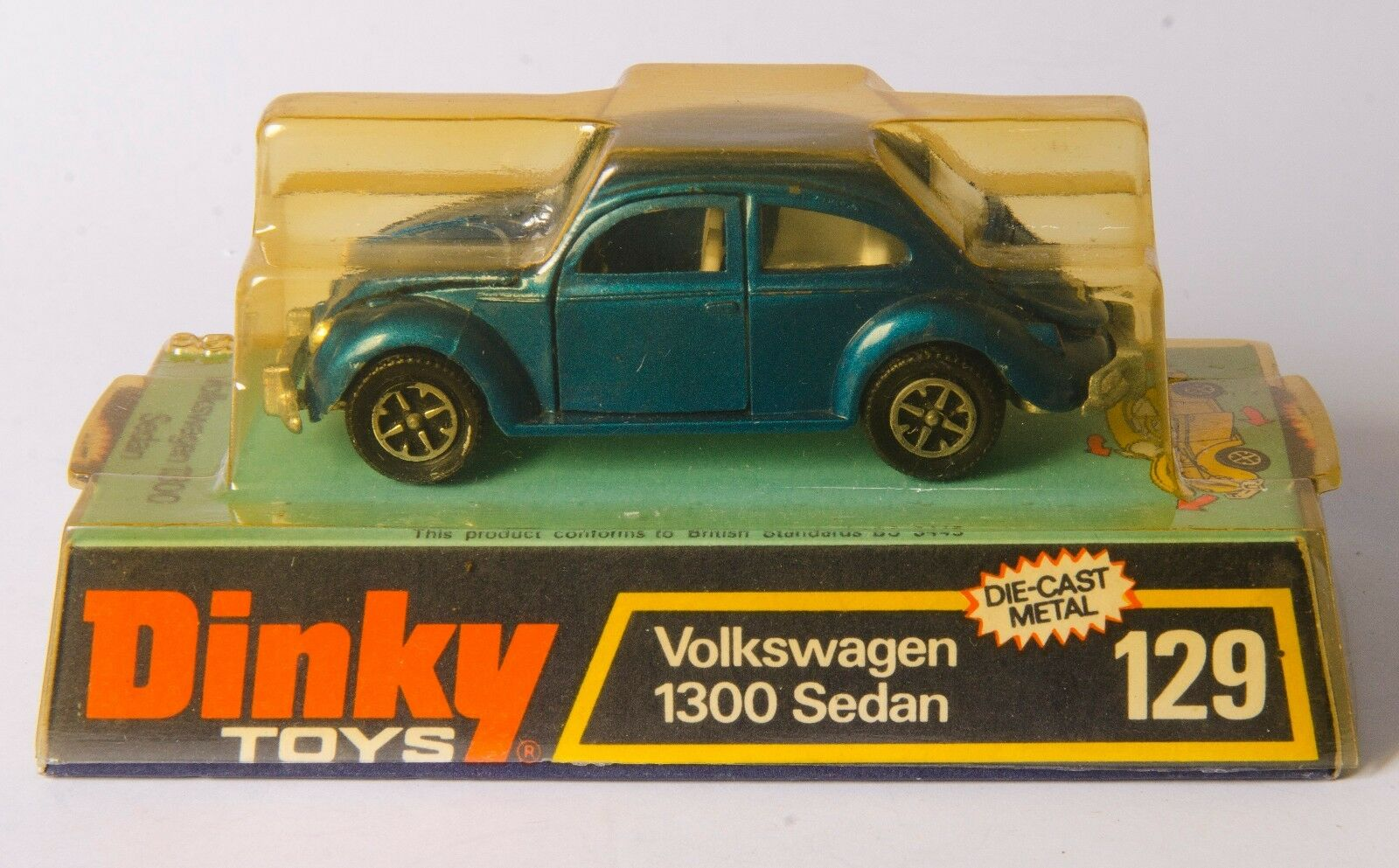 Dinky 129 Volkswagen 1300 Sedan. Met. bluee. Speedwheels. Boxed. 1970's