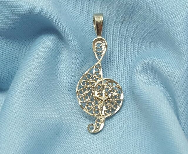 Rhodium-plated 925 Silver Treble Clef Pendant with 24 Necklace Jewels Obsession Treble Clef Necklace