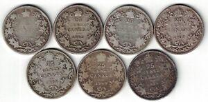 7-X-CANADA-TWENTY-FIVE-CENTS-QUARTERS-KING-EDWARD-VII-SILVER-COINS-1904-1910