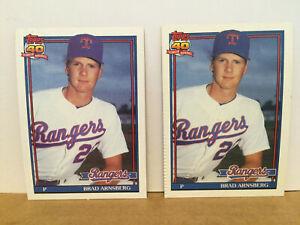 1991-Topps-ERROR-card-LOT-of-2-Brad-Arnsberg-706-ERA-amp-IP-both-wrong-RARE-SP-NM