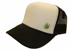 Black & White Mesh Trucker Cap Caps Hat Hats Marijuana Weed Pot Bud Leaf on Side